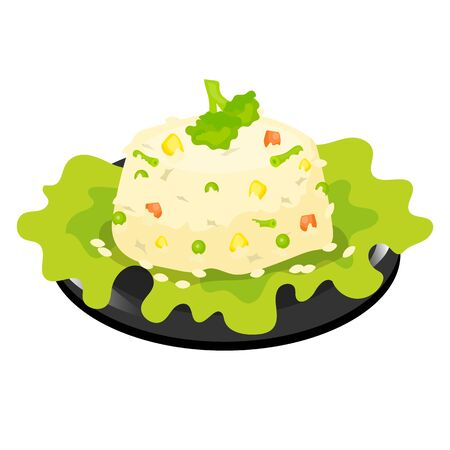 Chinese rice with vegetables color icon. Asian risotto, pilaf. Eastern traditional cuisine. Barley salad with herbs. Chineese food with different vegetables. Isolated vector illustration