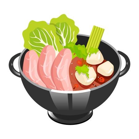 Japanese soup with sliced pork color icon. Tofu ma po. Asian dish in bowl. Eastern traditional cuisine. Spicy tofu with meat chops. Chinese food with beaf and vegetables. Isolated vector illustration Ilustração