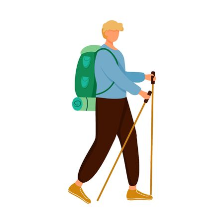 Boy with hiking sticks flat vector illustration. Camping activity. Cheap travelling choice. Active vacation. Budget tourism. Walking tour isolated cartoon character on white background