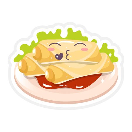 Chineese spring rolls cute kawaii vector character. Asian food with kissing face. Eastern traditional cuisine. Chineese dish with vegetables. Funny emoji, emoticon. Isolated cartoon color illustration