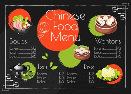 Chinese food menu template. Asian cuisine traditional dishes. Print design with cartoon icons. Concept vector illustrations. Restaurant, cafe banner, flyer brochure page with food prices layout