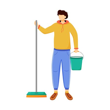 Earning money flat vector illustration. Cleaning floor, apartment. Working as cleaner. Job for student, youth. Boy with mop and bucket. Work options isolated cartoon character on white background Illusztráció