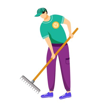 Volunteer working with rake flat vector illustration. Cleaning service worker in uniform isolated cartoon character on white background. Environment care, community work day design element Illusztráció