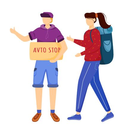 Hitchhiking experience flat vector illustration. Trip ideas for youth. Budget tourism. Boy and girl wait for car. Cheap travelling ideas for students isolated cartoon character on white background 일러스트