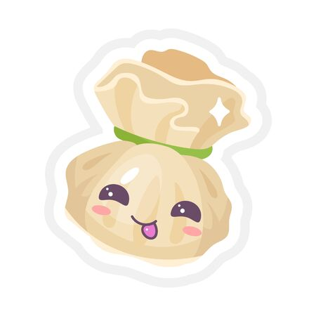 Chinese dumpling cute kawaii vector characters set. Asian dish with smiling face. Eastern cuisine tradition. Dumpling with meat, vegetables. Funny emoji, emoticon. Isolated cartoon color illustration Ilustração