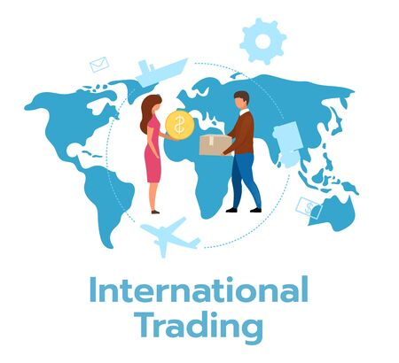 International trading flat vector illustration. Economic transaction between countries. Exchange of goods, services. Global trade. Export, import. Business model. Isolated cartoon character on white Иллюстрация