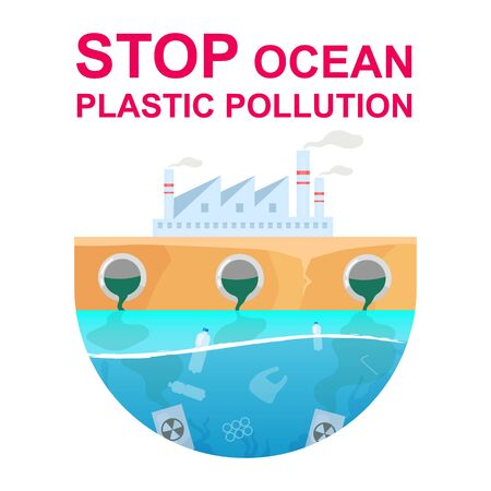 Stop ocean plastic pollution flat concept icon. Water and air contamination. Industrial factory toxic pollutions sticker, clipart. Isolated cartoon illustration on white background Vectores