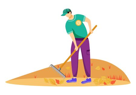 Volunteer cleaning leaves flat vector illustration. Community service worker in uniform isolated cartoon character on white background. Environmental activist working with rakes. Seasonal chores