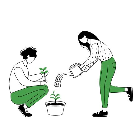 People growing plants flat contour vector illustration. Gardeners isolated cartoon outline character on white background. Couple seeding and watering houseplants simple drawing. Gardening concept