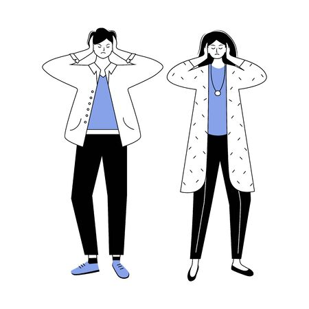 Trouble relationship blue and black flat contour vector illustration. Married couple conflict. Misunderstanding between husband and wife. Marriage issue isolated cartoon character on white background