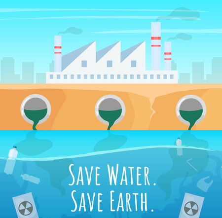 Save water social media post mockup. Enterprise emission. Advertising web banner design template. Social media booster, content layout. Promotion poster, print ads with flat illustrations