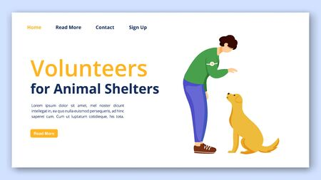 Volunteers for animal shelters landing page vector template. Charity website interface idea with flat illustrations. Voluntary work homepage layout. Pet adoption web banner, webpage cartoon concept Ilustracja