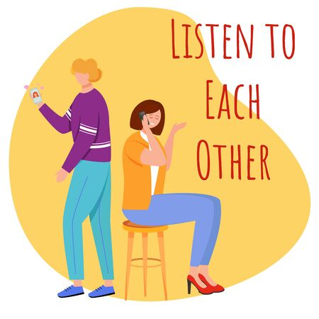 Listen to each other flat poster vector template. Cheating situation isolated cartoon characters on yellow. Chatting with lover. Woman flirting on phone. Banner design layout with text 向量圖像