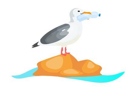 Gaviota con botella de plástico en icono de concepto plano pico. Contaminación plástica en el problema del océano. Pájaro comiendo etiqueta engomada del envase desechable, clipart. Ilustración de dibujos animados aislado sobre fondo blanco