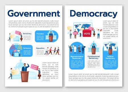 Modèle de brochure de métaphore du système politique. Types de démocratie. Flyer, brochure, dépliant imprimé, conception de la couverture avec illustrations à plat. Mises en page vectorielles pour magazines, rapports, affiches publicitaires