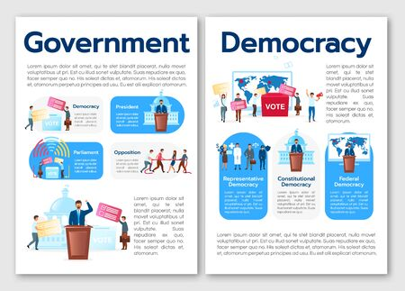 Political system metaphor brochure template. Types of democracy. Flyer, booklet, leaflet print, cover design with flat illustrations. Vector page layouts for magazines, reports, advertising posters