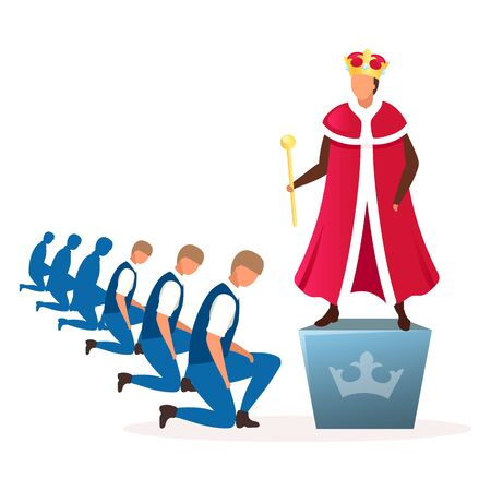 Monarchy political system metaphor flat vector illustration. Form of government, regime. Power of king, queen, emperor cartoon characters. Hereditary reign. Royal family dictatorship