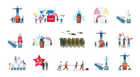 Political system metaphor flat vector illustration set. Different forms of governments. Head of state. Radical ideologies. Election process. Monarchy and republic. Politicians cartoon characters Ilustrace