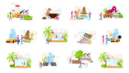 Indonesian business flat vector illustrations set. Coffe, tobacco production. Timber industry. Car rental, leasing. Tourism. Alternative energetics. Tax consultant. Isolated cartoon concept