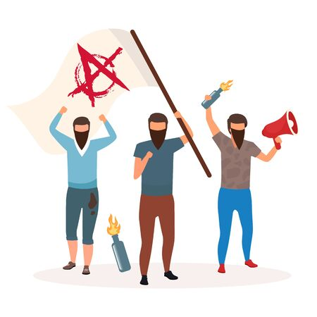 Anarchy political system metaphor flat vector illustration. Form of ideology. Radical poitical movements. Rejecting hierarchy. State of chaos and protest. Rebel cartoon characters