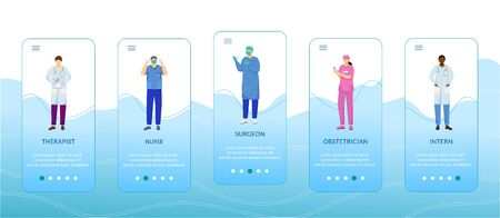 Medical professionals onboarding mobile app screen vector template. Therapist, nurse, surgeon, obstetrician. Walkthrough website steps with flat characters. UX, UI, GUI smartphone cartoon interface