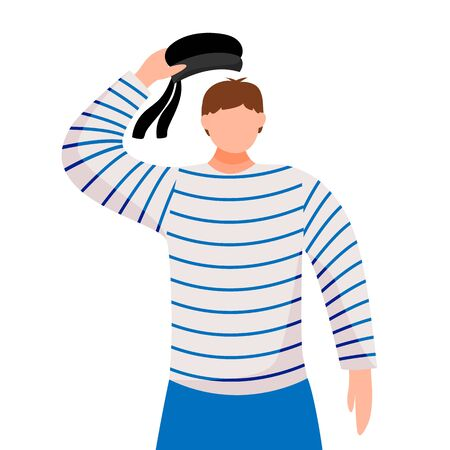 Sailor flat vector illustration. Seafarer in work uniform. Yacht club. Maritime occupation. Boatswain salutes isolated cartoon character on white background