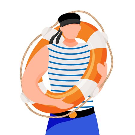 Boatswain flat vector illustration. Seafarer in work uniform. Maritime occupation. Sailor with lifebuoy isolated cartoon character on white background
