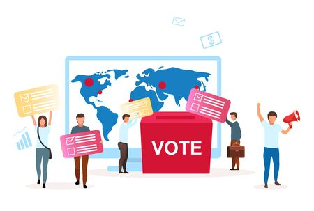 Election campaign flat vector illustration. Political system metaphor. Choosing president, parliament. Encouraging to vote. Act of democracy. Voting for new leader cartoon characters Ilustração