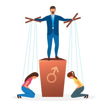Patriarchy political system metaphor flat vector illustration. Patriarchal barrier to females in politics. Form of government. Primary power of men. Oppression of women cartoon characters