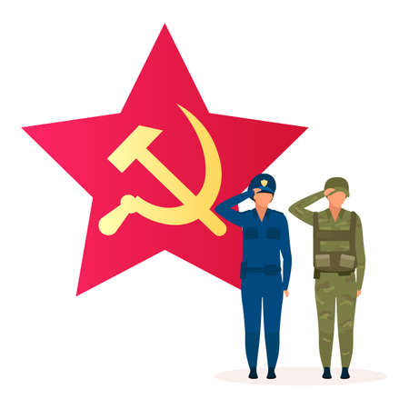 Communism political system metaphor flat vector illustration. Marxism ideology. Soviet union system. Common ownership and absence of classes. Form of government. Socialist cartoon characters