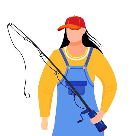 Fisherwoman flat vector illustration. Fisher with fishing rod and bucket isolated cartoon character on white background. Sport, active leisure