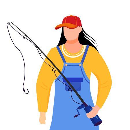 Illustration vectorielle plane de pêcheuse. Fisher avec canne à pêche et seau personnage de dessin animé isolé sur fond blanc. Sport, loisirs actifs Vecteurs