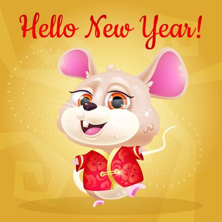 Cute mouse kawaii character social media post mockup. Hello New Year lettering. Positive poster, greeting card template with happy animal in chinese traditional clothes. Print, postcard illustration