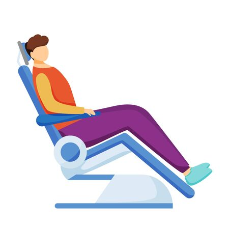 Patient on dental chair flat vector character. Dentistry, stomatology. Dental checkup, stomatologist appointment. Teeth treatment and examination cartoon concept isolated on white background