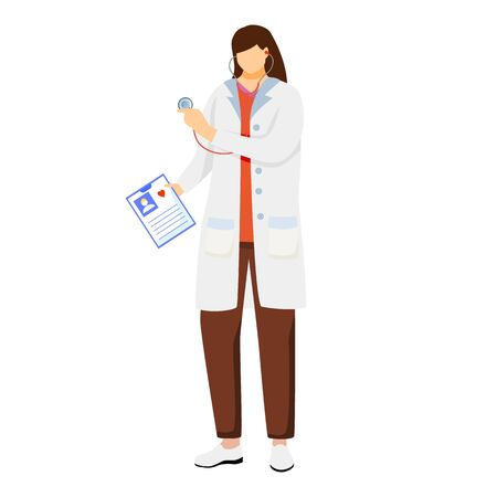 Female doctor flat vector illustration. General practitioner holding patient card. Therapist, physician with stethoscope ready for checkup. Medical worker. Doc, medic, cardiologist cartoon character