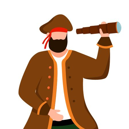 Pirate flat vector illustration. Clothing rental. Marine festival. Maritime costume ideas. Buccaneer isolated cartoon character on white background