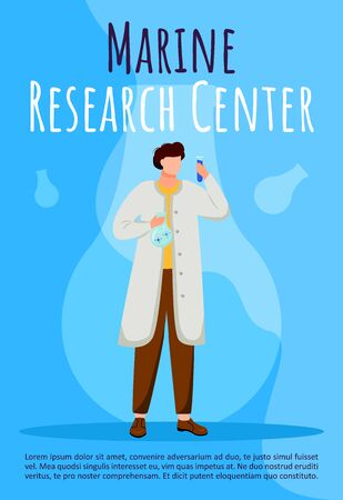 Marine research center poster vector template. Marine science. Scientist with test tube. Brochure, cover, booklet page concept design with flat illustrations. Advertising flyer, leaflet, banner layout Illustration