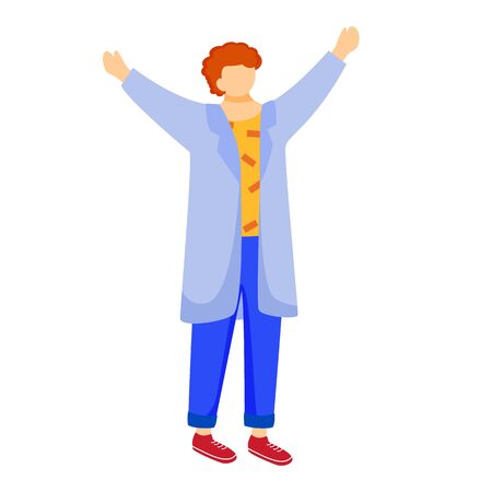 Happy science student in lab coat flat vector illustration. Boy studies medicine. Practical lessons in university. Man with raised hands isolated cartoon character on white background Illustration