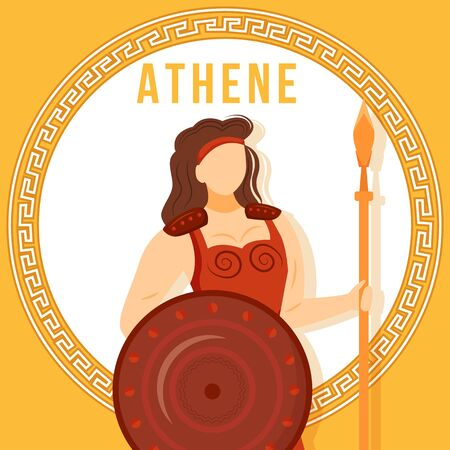 Athene orange social media post mockup. Ancient Greek goddess. Mythological figure. Web banner design template. Social media booster, content layout. Poster, printable card with flat illustrations Vettoriali