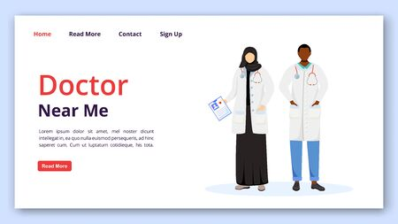 Doctor near me landing page vector template. Multicultural medics. Medicine and healthcare website interface idea with flat illustrations. Clinic homepage layout. web banner, webpage cartoon concept Ilustrace