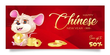 Happy Chinese New Year sale banner cartoon template. Winter holiday special offer and discounts, seasonal clearance horizontal poster layout. Red background with mouse and coins. 50 percent price off
