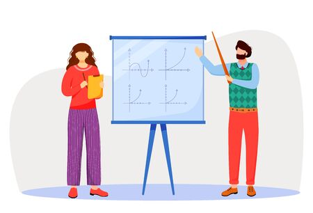 Teacher explains math graphs on whiteboard flat vector illustration. Studying process at university, school. Learning mathematics. Professor and student isolated cartoon characters on white background