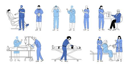 Doctors flat vector illustrations set. General practitioners, therapists, surgeons isolated cartoon characters on white. Resuscitation, first aid and surgical operation. Medicine and healthcare Ilustração