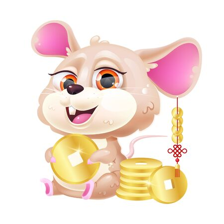 Cute mouse kawaii cartoon vector character. Adorable and funny zodiac animal with golden coins isolated sticker, patch. Chinese New Year symbol of prosperity. Anime baby rat emoji on white background Ilustração