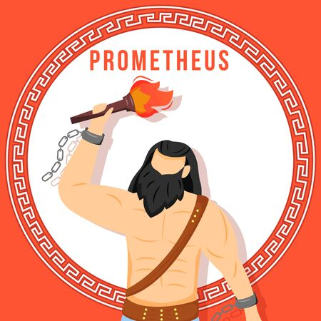 Prometheus red social media post mockup. Ancient Greek god. Mythological figure. Web banner design template. Social media booster, content layout. Poster, printable card with flat illustrations