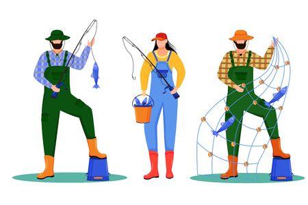 Fishers flat vector illustration. Sport, active leisure. Fishing fleet. Maritime occupation. Fishermen and fisherwomen isolated cartoon characters on white background Ilustração