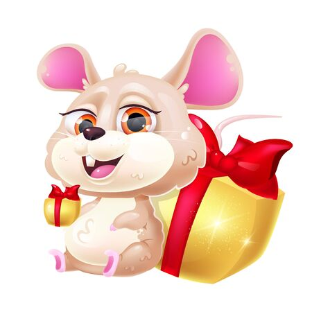 Cute mouse kawaii cartoon vector character. Chinese New Year zodiac symbol of 2020. Adorable and funny animal sitting with gift boxes isolated sticker, patch. Anime baby rat emoji on white background