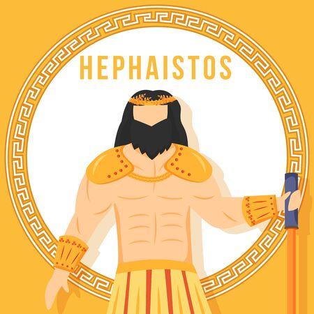 Hephaistos orange social media post mockup. Ancient Greek god. Mythological figure. Web banner design template. Social media booster, content layout. Poster, printable card with flat illustrations