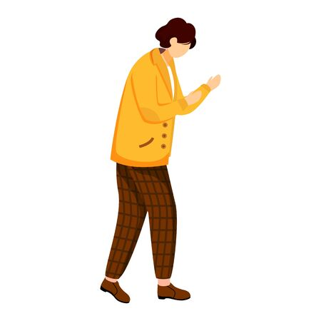 Young man in yellow jacket flat vector illustration. Standing in defensive position. Casually dressed person. University student. Boy fighting isolated cartoon character on white background