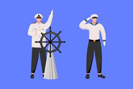 Maritime professions flat vector illustration. Navigator with helm. Cruise liner. Marine occupation. Captain and seafarer isolated cartoon characters on blue background Stock Illustratie